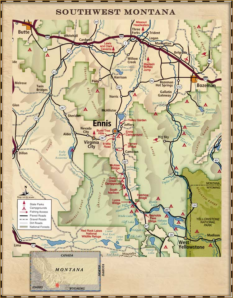 Madison River Montana Map.Arrow Real